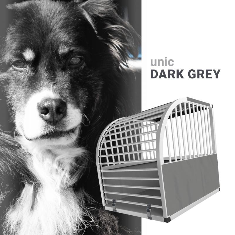 unic Hundebox Small mit Schloss, grau