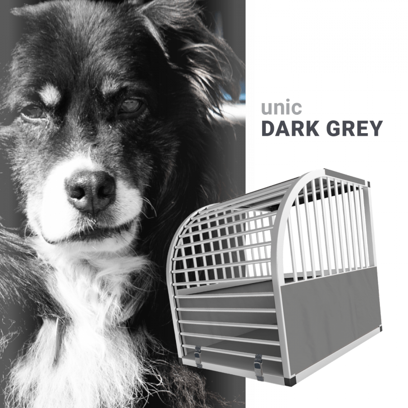 unic Hundebox Medium und Large mit Schloss, grau