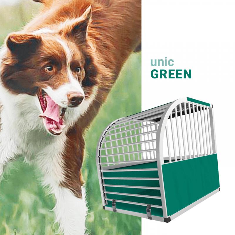 unic Hundebox Medium und Large mit Schloss, grün